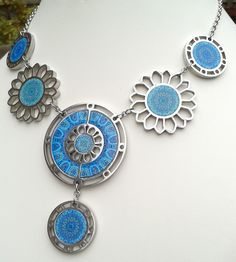 NOA Jewellery stainless steel and walnut six piece necklace in turquoise and blue. www.noajewellery.com