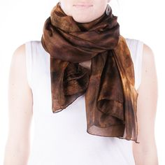 Fabulous golden brown silk scarf /  magnificent by CeliaEtcetera
