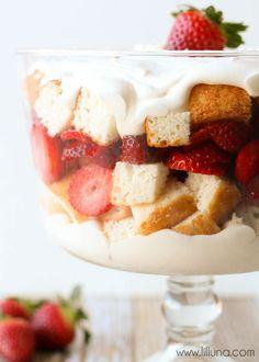 Strawberries and Cream Angel Food Cake Trifle recipe on { lilluna.com }