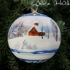 Hand painted by ArtWilk Glass Christmas Balls, Painted Christmas Ornaments, Hand Painted Ornaments, Christmas Scenes, Christmas Holidays, Christmas Bulbs, Christmas Crafts, Homemade Christmas Decorations, Rock Painting Ideas Easy