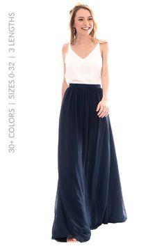 Clara Bridesmaid Maxi Skirt in Navy Chiffon