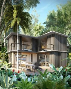 Pic from VZO Studios / Caters News - (Pictured: TEMPO project villas) - An architectural firm is set to build a series of a beautiful villas - integrating them into the BRAZILIAN RAINFOREST. So far nine TEMPO villas have been sold and construction on the project will begin in April. Each villa will be extremely open, utilising locally sourced concrete and timber from the region, and have a local tree growing at the centre of its architecture. The villas will be surrounded by the beauty of…
