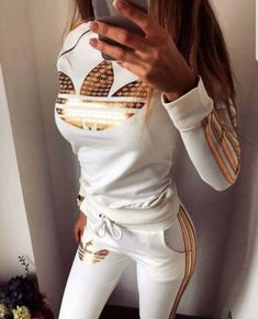 Right side zip in white and gold - STUDIO - excellent quality cotton lycra true sizes Source by - Cute Swag Outfits, Sporty Outfits, Nike Outfits, Sporty Style, Teen Fashion Outfits, Funky Fashion, Sport Fashion, Jogging Style, Jogging Suits