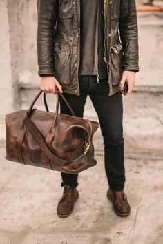 Perfect leather weekender