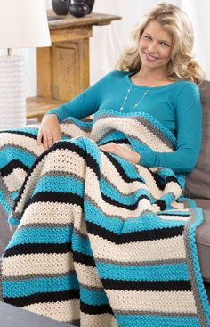 Through Thick & Thin Throw, free pattern by Red Heart.  Interesting border.  #crochet #afghan #blanket #pillow