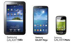 Comparativa de tamaños entre diferentes dispositivos de Samsung.