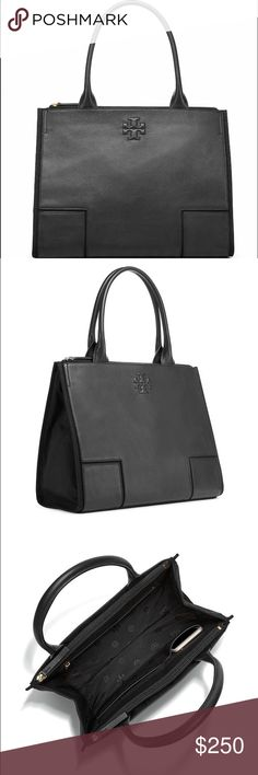 "🆕Tory Burch Ella Canvas & Leather Tote in Black A perennial favorite — updated in a chic mix of materials. Our Ella Canvas & Leather Tote features a roomy interior that can easily accommodate all of your everyday essentials — with a padded compartment for a 15"" laptop. Whether you're running around town or packing for a weekend getaway, it's an ideal grab-and-go carryall for any time of the year. STYLE NUMBER41159500. Current season.  Tubular leather handles with 8""  Height: 12.15"" (30.5…"