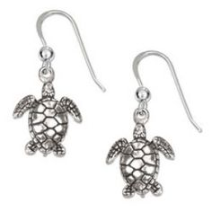 Sterling Silver Earrings: Antiqued Mini Swimming Turtle Earrings On French Wires Silver Jewelry Box, Gold Rings Jewelry, Cute Jewelry, Sterling Silver Earrings, Silver Bracelets, Wire Earrings, Silver Charms, Boho Jewelry, Jewelry Ideas