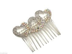 Heart design Clear and Ab Crystal Silver Hair Comb Slide Prom Races Bridal