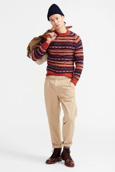 J.Crew Fall 2016 Menswear Fashion Show. I'm not keen on the pleated pants, but I love the boots and the sweater.