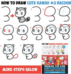 Learn How to Draw a Cute Chibi / Kawaii Cartoon Shape Racoon - Easy Step by Step Drawing Tutorial for Kids Cartoon Faces Expressions, Funny Cartoon Faces, Drawing Cartoon Characters, Cartoon Drawings, Cute Cartoon, Book Drawing, Drawing Lessons, Drawing Tips, Learn Drawing