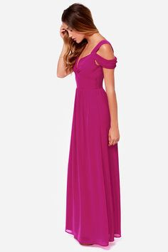 Elegant Magenta Dress - Maxi Dress - Prom Dress - Bridesmaid Dress - $81.00