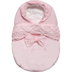 Armani Baby girls pink padded baby nest with a large bow, pretty ruched embroidery and logo lettering on the front. Fully lined in soft cotton with all over logo print,
