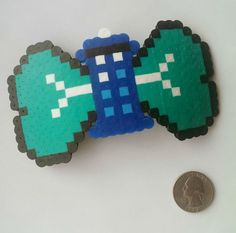 TARDIS Perler Bead Bow (Many Colors to Choose)