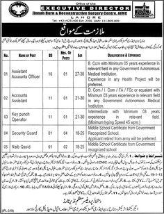 Job Opportunities In Jinnah Burn & Reconstructive Surgery Center, Lahore  http://www.dailypaperpk.com/jobs/179057/job-opportunities-jinnah-burn-reconstructive-surgery-center-lahore
