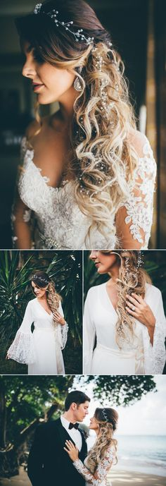 Hip hip hooray for bell sleeves and bridal braids  | photos by Amber Phinisee