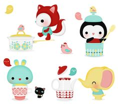 Illustration: animal in the kitchen Doodles Kawaii, Kawaii Art, Kawaii Anime, Sooo Kawaii, Kawaii Illustration, Book Illustration, Hello Kitty, Cute Clipart, Cute Designs