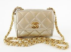 Chanel Vintage Lambskin Quilted Mini Flap Gold Cross Body Bag $1,550