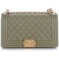 CHANEL Caviar Quilted Medium Boy Flap Khaki ❤ liked on Polyvore featuring bags, handbags, shoulder bags, chanel, quilted shoulder bag, green leather handbag, green purse, leather purses and quilted leather purse