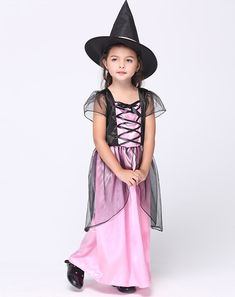 5fccd355aa99b Halloween Witch Dress and Hat Set Black Pink Dress Girl Kids Halloween  Costumes Dance Costumes 95 CM - 135 CM