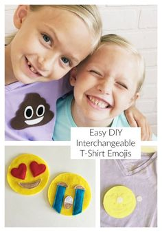 Today we have DIY Emoji shirts to share with you…although I have to admit I can't take the credit for them…they are the brain child of my 9 year old who is IN LOVE with emojis. She has emoji sheets and emoji pillowcases and stuffed emojis and emoji waterb Emoji Shirt, Sewing For Kids, Free Sewing, Easy Sewing Projects, Sewing Tutorials, Sewing Classes For Beginners, Diy Hanging Planter, Simple Shirts, Diy Shirt