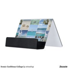 Cyanotype santa monica pier business card holder zizzling zazzle scenic caribbean collage desk business card holder colourmoves