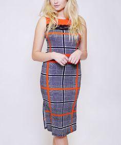 Look what I found on #zulily! Black & Orange Plaid Lace-Accent Bodycon Dress #zulilyfinds