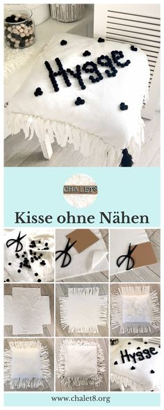 DIY: Kissen ohne Nähen selbst gestalten Make your own pillow without sewing yourself, make your own pillow case without sewing with pom poms, DIY simple [. Small Pillow Covers, Throw Pillow Covers, Wool Pillows, Throw Cushions, Small Pillows, Decorative Cushions, Dark Leather Couches, Make Your Own Pillow, Cushion Inserts