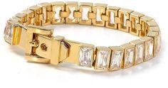 Michael Kors MKJ1754710 Women's Buckle Closure Gold Tone Crystal Inset Tennis Bracelet