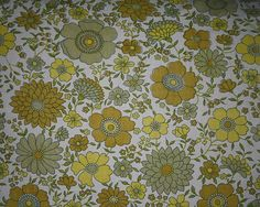 vintage fabric - retro olive, lemon yellow and buttercream floral - fat quarter