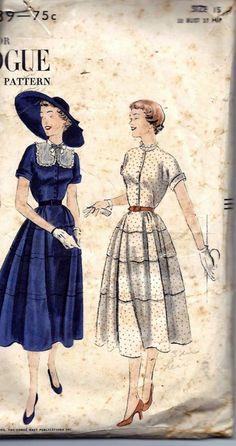 Vintage 50s Dress Sewing Pattern Vogue 3339 B33 Size 15