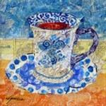"""A Daily Paintworks Affordable ArtByte Tutorial - """"Collage a Cup with Torn Paper """" - © Nancy Standlee"""