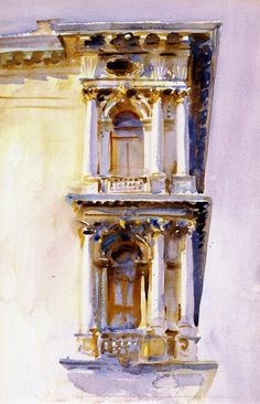 John Singer Sargent, Palazzo Rezzonico, c. 1902-1904. Watercolor over pencil on paper, 50.8 x 32.4 cm. Private collection.