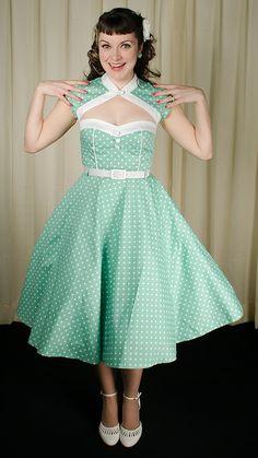 Hell Bunny Melanie Mint Shrug Swing Dress