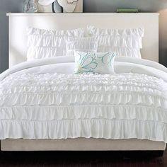 Full/Queen 5-Piece White Comforter Set w/ 2 Shams & 2 Decorative Pillows
