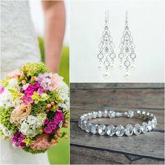 Swarovski Wedding Jewelry Set Bridal Bracelet and Earrings Handmade by Amanda Badgley Designs | Wedding Ideas | Wedding Planning