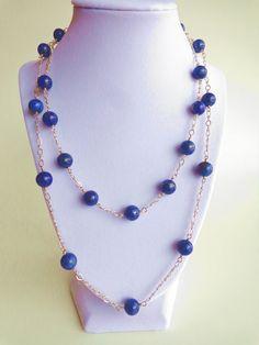Collar de lapislázuli, collar de plata esterlina, collar de piedras preciosas, collar de OOAK, alambre envuelto, hecho a mano, por creaciones de la joyería del Iris.