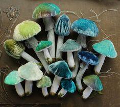 Teal Blue Silk Velvet Mushroom Ornaments - Set of 3 Woodland Toadstool Holiday Decorations - Handmade Fairy Moss Garden Doll House Decor Mushroom Crafts, Mushroom Art, Mushroom Decor, Halloween Illustration, Fabric Art, Fabric Crafts, Fun Crafts, Arts And Crafts, Craft Projects