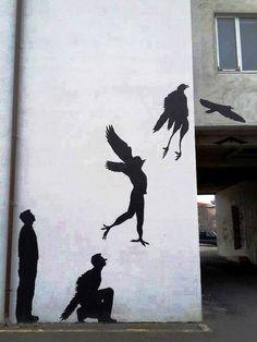 Mural realizado por el artista callejero británico Banksy