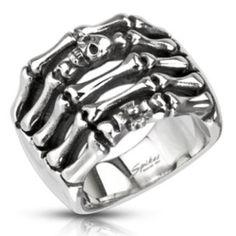 Men's 316L Stainless Steel Skeleton Hands/Skulls/Biker Wide Ring Size,11 (4484A)