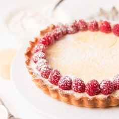 Lemon Curd Cheesecake Tart with plump raspberries