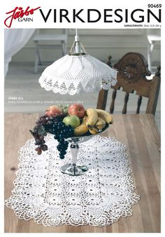 Oval table runner with matching lampshade. Crochet Lampshade, Crochet Tablecloth, Doily Art, Lace Doilies, Filet Crochet, Crochet Lace, Oval Table, Lamp Shades, Table Runners