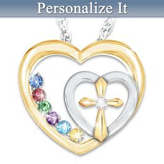 """Faith And Family Personalized Diamond Necklace - Add up to 6 birthstones.  The reverse is engraved, """"Faith and Family are the center of a Mother's heart""""."""