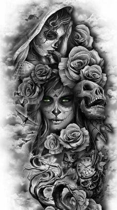 covering tattoo for men, covering tattoo models, realistic covering tattoo, realist tattoo tattoo ideas for men Skull Rose Tattoos, Skull Girl Tattoo, Skull Sleeve Tattoos, Skull Tattoo Design, Best Sleeve Tattoos, Tattoo Sleeve Designs, Tattoo Designs Men, Sleeve Tattoos For Men, Realistic Tattoo Sleeve