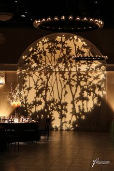 30 Candle Iron Chandelier and GOBO Pattern at Casa Real Event Lighting, Stage Lighting, Outdoor Lighting, Lighting Design, Wall Lighting, Enchanted Forest Prom, Stage Set Design, Casa Real, Iron Chandeliers