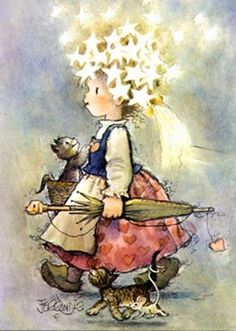 gatitos, amigos ♥ Art And Illustration, D N Angel, Vintage Christmas, Christmas Cards, Spanish Painters, Postcard Art, Holly Hobbie, Art Themes, Whimsical Art