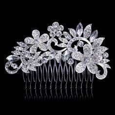Silver Color Crystal Rhinestone Flower Big Wedding Hair Comb Bride Headpiece,Hair Accessories Jewelry Bridal Hair Piece