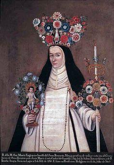 """En el mundo barroco novohispano se desarrolló un tipo de retrato al que se ha llamada de """"monja coronada"""", en el que se plasmaba a la monja vestida como en el día de su profesión, en un desarrollo decorativo verdaderamente increíble, lleno de simbolismos. Las monjas aparecen con los hábitos de sus órdenes, a los que se añaden los elementos materiales que simbolizan la entrega y el compromiso de la profesión religiosa, pero llevados al e..."""