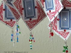 ~ Scraps Creatively Reused and Recycled Art Projects: Playing Card Christmas Tree Ornaments Whimsical Christmas Trees, Christmas Tree Ornaments, Easy Diy Christmas Gifts, Christmas Crafts, Christmas Ideas, Handmade Christmas, Foam Crafts, Paper Crafts, Playing Card Crafts