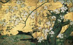 桜楓図のうち桜図(部分) 長谷川久蔵筆